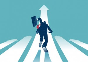Businessman running to the top. Business concept illustration
