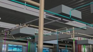 ゴーグルを装着し、現場の天井を見上げると、ダクトや配管の3Dモデルが重なって見える